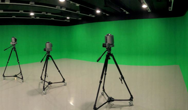 Inside the Future Labs shows the green screen TV studio and remote controlled cameras