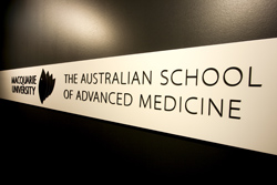 Photo of the Australian School of Advanced Medicine sign
