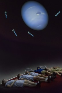 Visiting school students explore the night sky in our planetarium. Credit: Paul Wright.