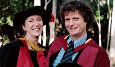 Professor Ros Croucher and Professor John Croucher, after John received his second PhD, in modern history, from Macquarie University.
